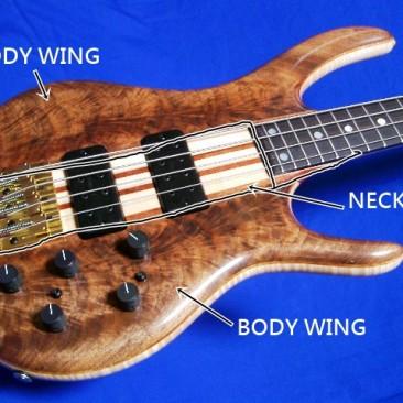 Body Wing 指的是琴身前後(TOP&BACK)的夾層,Ken Smith琴身有3pcs/5pcs/7pcs夾層的區別,層數越多,聲音表現越紮實、顆粒感越清楚